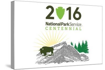 National Park Service Centennial - Bison and Sunrise-Lantern Press-Stretched Canvas Print