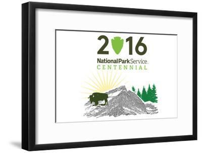 National Park Service Centennial - Bison and Sunrise-Lantern Press-Framed Art Print