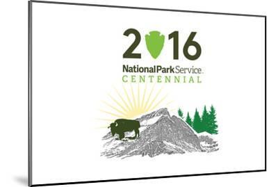 National Park Service Centennial - Bison and Sunrise-Lantern Press-Mounted Art Print