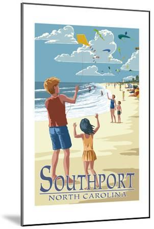 Southport, North Carolina - Kite Flyers-Lantern Press-Mounted Art Print