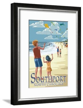 Southport, North Carolina - Kite Flyers-Lantern Press-Framed Art Print