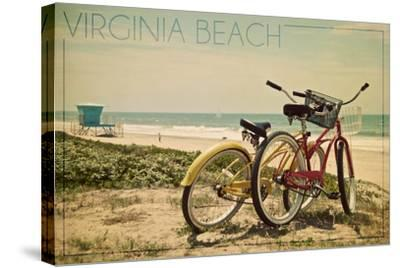 Virginia Beach, Virginia - Bicycles and Beach Scene-Lantern Press-Stretched Canvas Print