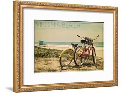 Virginia Beach, Virginia - Bicycles and Beach Scene-Lantern Press-Framed Art Print
