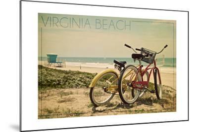Virginia Beach, Virginia - Bicycles and Beach Scene-Lantern Press-Mounted Art Print