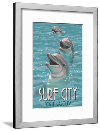 Surf City, North Carolina - Dolphins-Lantern Press-Framed Art Print