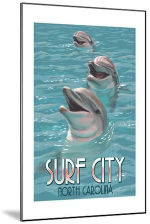 Surf City, North Carolina - Dolphins-Lantern Press-Mounted Art Print