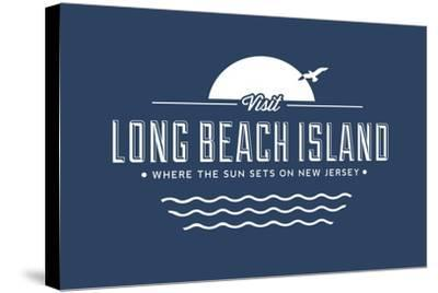 Visit Long Beach Island - Where the sun sets on New Jersey-Lantern Press-Stretched Canvas Print