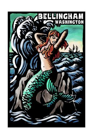 Bellingham, Washington - Mermaid - Scratchboard-Lantern Press-Framed Art Print