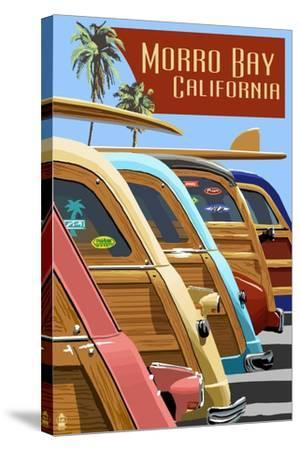 Morro Bay, California - Woodies Lined Up-Lantern Press-Stretched Canvas Print