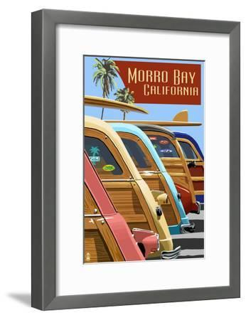 Morro Bay, California - Woodies Lined Up-Lantern Press-Framed Art Print
