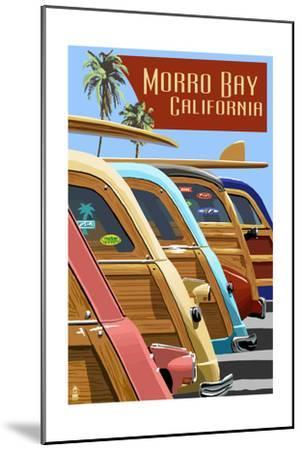 Morro Bay, California - Woodies Lined Up-Lantern Press-Mounted Art Print