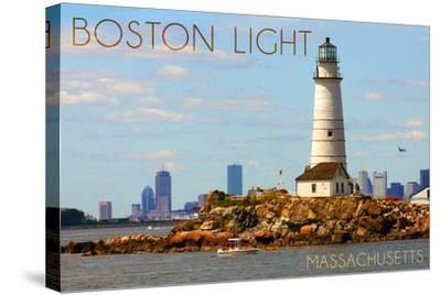 Boston, Massachusetts - Boston Light-Lantern Press-Stretched Canvas Print