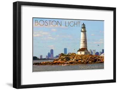 Boston, Massachusetts - Boston Light-Lantern Press-Framed Art Print