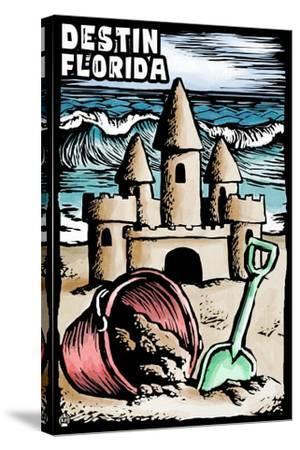 Destin, Florida - Sandcastle - Scratchboard-Lantern Press-Stretched Canvas Print
