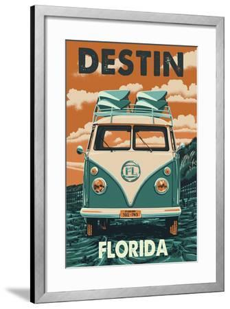 Destin, Florida Letterpress-Lantern Press-Framed Art Print