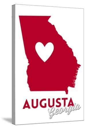 Augusta, Georgia - Heart Design-Lantern Press-Stretched Canvas Print