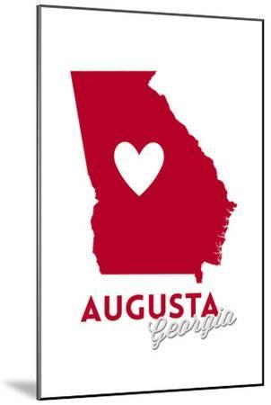 Augusta, Georgia - Heart Design-Lantern Press-Mounted Art Print