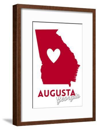 Augusta, Georgia - Heart Design-Lantern Press-Framed Art Print