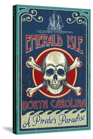 Emerald Isle, North Carolina - Skull and Crossbones Sign-Lantern Press-Stretched Canvas Print