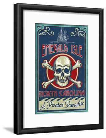 Emerald Isle, North Carolina - Skull and Crossbones Sign-Lantern Press-Framed Art Print