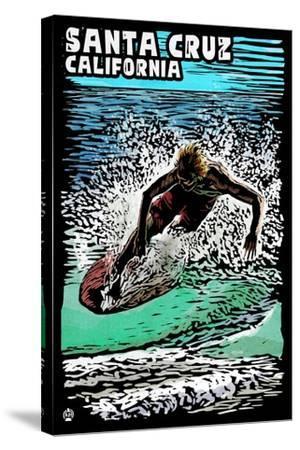 Santa Cruz, California - Skimboarder - Scratchboard-Lantern Press-Stretched Canvas Print