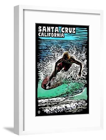 Santa Cruz, California - Skimboarder - Scratchboard-Lantern Press-Framed Art Print