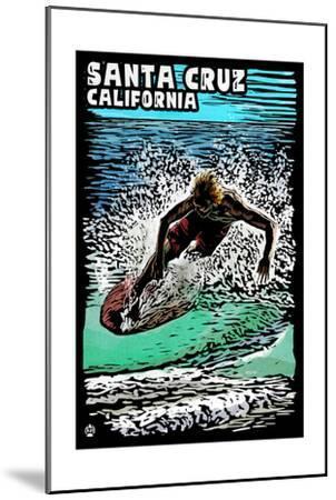 Santa Cruz, California - Skimboarder - Scratchboard-Lantern Press-Mounted Art Print