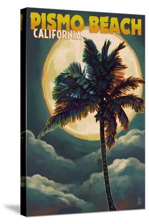 Pismo Beach, California - Palm and Moon-Lantern Press-Stretched Canvas Print