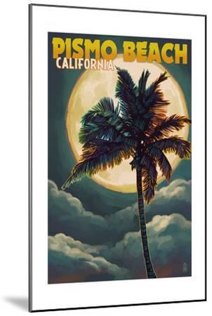 Pismo Beach, California - Palm and Moon-Lantern Press-Mounted Art Print