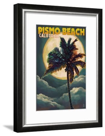 Pismo Beach, California - Palm and Moon-Lantern Press-Framed Art Print