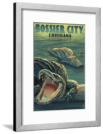 Bossier City, Louisiana - Alligator Scene-Lantern Press-Framed Art Print