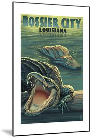 Bossier City, Louisiana - Alligator Scene-Lantern Press-Mounted Art Print