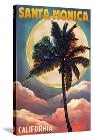 Santa Monica, California - Palm and Moon-Lantern Press-Stretched Canvas Print