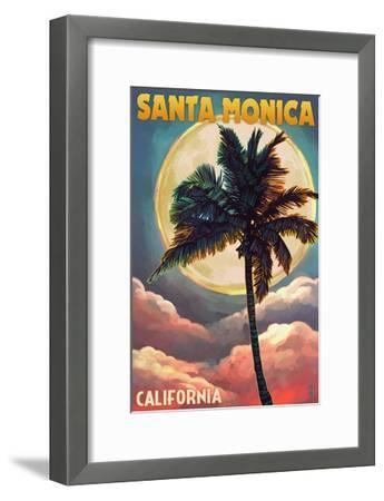 Santa Monica, California - Palm and Moon-Lantern Press-Framed Art Print
