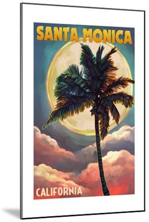 Santa Monica, California - Palm and Moon-Lantern Press-Mounted Art Print
