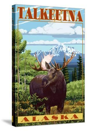 Talkeetna, Alaska - Moose Scene-Lantern Press-Stretched Canvas Print