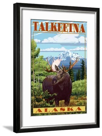 Talkeetna, Alaska - Moose Scene-Lantern Press-Framed Art Print
