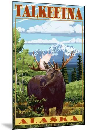 Talkeetna, Alaska - Moose Scene-Lantern Press-Mounted Art Print