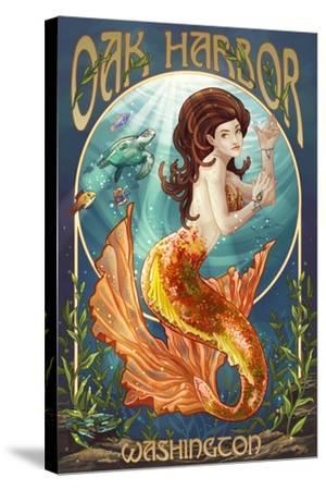 Oak Harbor, Washington - Mermaid (Orange)-Lantern Press-Stretched Canvas Print