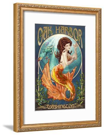 Oak Harbor, Washington - Mermaid (Orange)-Lantern Press-Framed Art Print