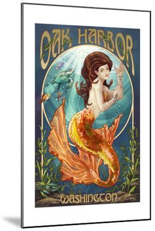 Oak Harbor, Washington - Mermaid (Orange)-Lantern Press-Mounted Art Print
