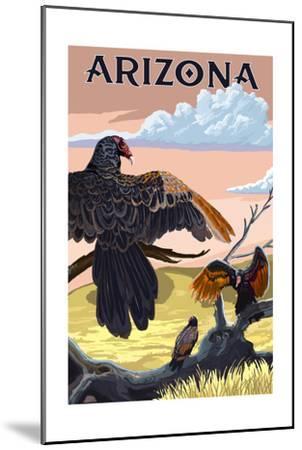 Arizona Vultures-Lantern Press-Mounted Art Print