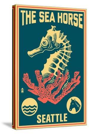 Seattle, Washington - Seahorse Woodblock (Blue and Pink)-Lantern Press-Stretched Canvas Print