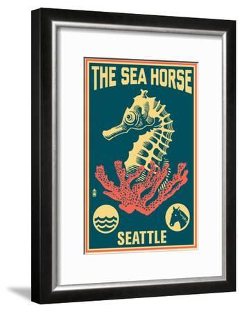 Seattle, Washington - Seahorse Woodblock (Blue and Pink)-Lantern Press-Framed Art Print