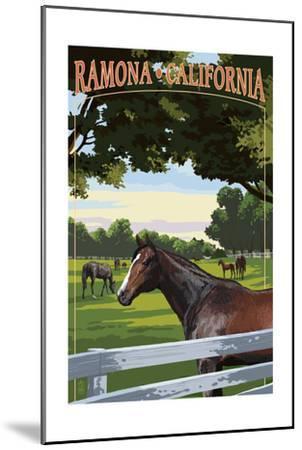 Ramona, California - Horse Pasture-Lantern Press-Mounted Art Print
