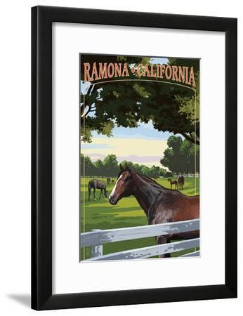 Ramona, California - Horse Pasture-Lantern Press-Framed Art Print