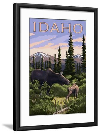 Idaho - Moose and Baby Calf-Lantern Press-Framed Art Print