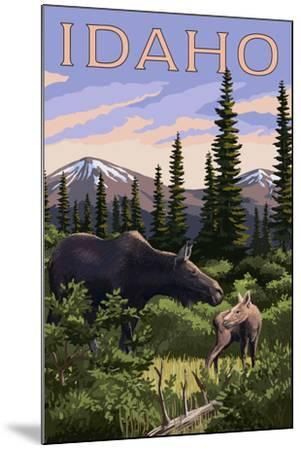 Idaho - Moose and Baby Calf-Lantern Press-Mounted Art Print