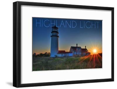 Massachusetts - Highland Light at Sunset-Lantern Press-Framed Art Print