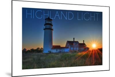 Massachusetts - Highland Light at Sunset-Lantern Press-Mounted Art Print